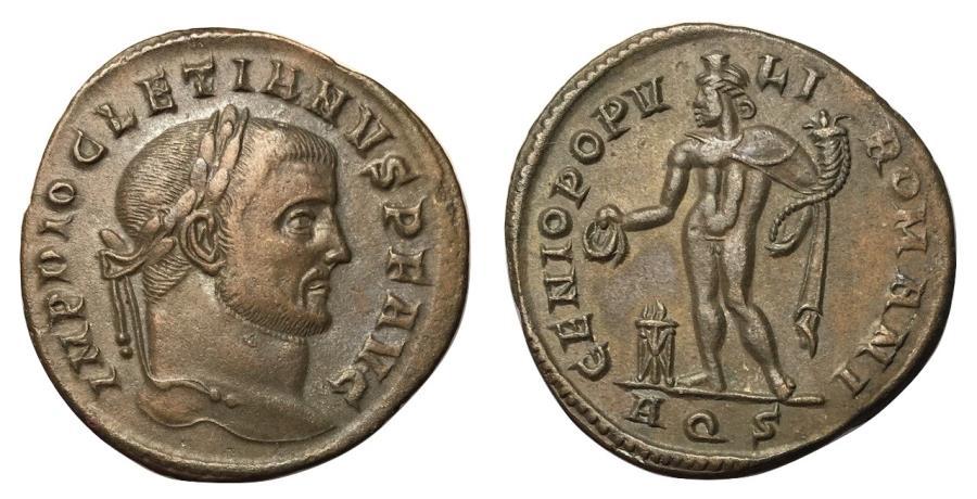 Ancient Coins - Diocletian, 284 - 305 AD, Follis of Aquileia