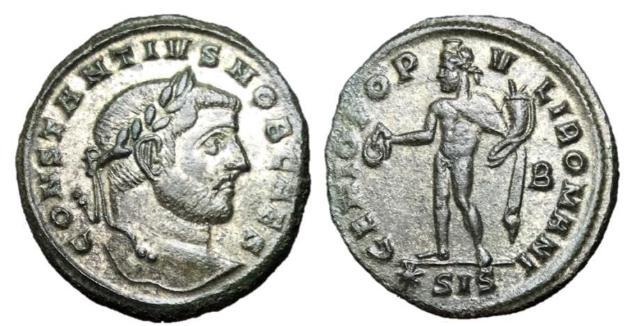 Ancient Coins - Constantius I, as Caesar, 293 - 305 AD, Follis of Siscia
