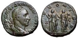 Ancient Coins - Trajan Decius, 249 - 251 AD, Sestertius with the Pannoniae