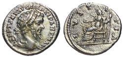 Ancient Coins - Septimius Severus, 193 - 211 AD, Silver Denarius of Laodicea with Justitia