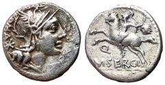 Ancient Coins - M Sergius Silus, 116 - 115 BC, Silver Denarius