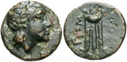 Ancient Coins - Mysia, Gambrion, after 350 BC, AE10, Apollo & Tripod