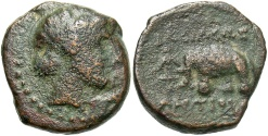 Ancient Coins - Seleukid Kingdom, Antiochos III, 222 - 187 BC, AE13, Apollo and Elephant