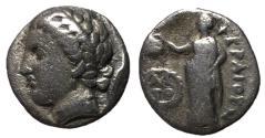 Ancient Coins - Thessaly, Pherai, 302 - 286 BC, Silver Hemidrachm