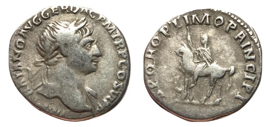 Ancient Coins - Trajan, 98 - 117 AD, Silver Denarius, on Horseback