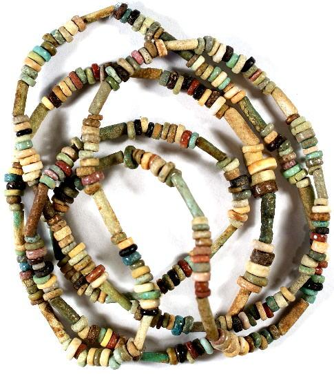 Ancient Coins - Egypt, The New Kingdom, circa 1554 - 1080 BC.  Faience Mummy Bead Necklace