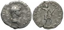 Ancient Coins - Trajan, 98 - 117 AD, Silver Denarius, Virtus