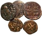 Ancient Coins - Byzantine, 10th Century & Later, Lot of 5 Folles, Christian Themed