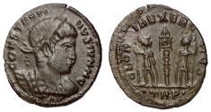 Ancient Coins - Constantine II, as Caesar, 317 - 337 AD, Follis of Treveri, Rare
