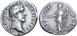 Ancient Coins - Antoninus Pius, 138 - 161 AD, Silver Denarius, Pax