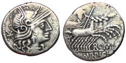 Ancient Coins - L Minucius, 133 BC, Silver Denarius