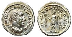 Ancient Coins - Maximinus, 235 - 238 AD, Silver Denarius, Emperor with Standards