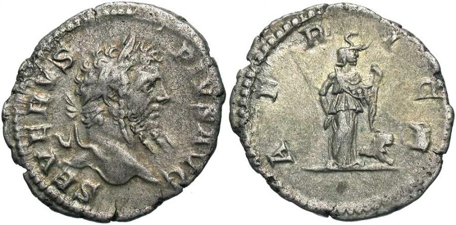 Ancient Coins - Septimius Severus, 193 - 211 AD, Silver Denarius, Africa, Scarce!