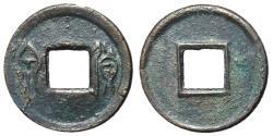 Ancient Coins - H9.46.  Xin Dynasty, Emperor Wang Mang, 7 - 23 AD, AE 5 Zhu, Half Moon Above