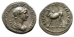 Ancient Coins - Trajan, 98 - 117 AD, Silver Drachm of Bostra, Camel