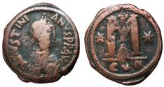 Ancient Coins - Justinian I, 527 - 565 AD, Follis of Constantinople