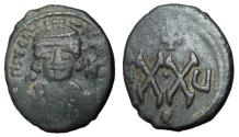 Ancient Coins - Maurice Tiberius, 582 - 602 AD, Half Follis of Constantinople