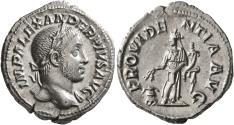 Ancient Coins - Severus Alexander, 222 - 235 AD, Silver Denarius, Providentia, Nice EF