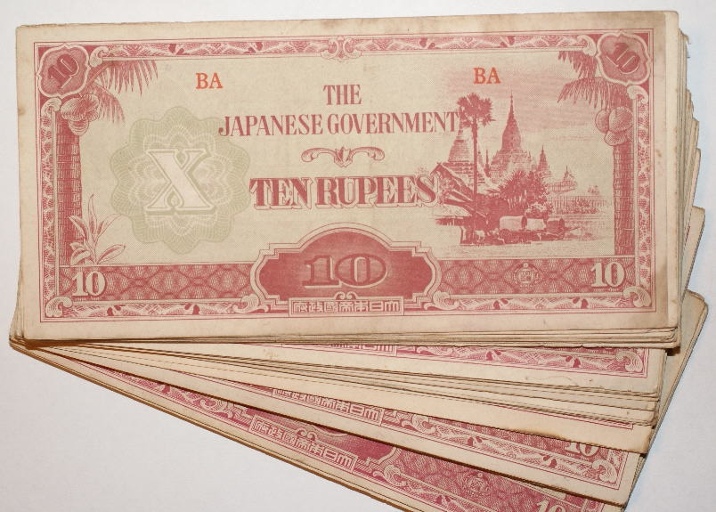 Ancient Coins - BURMA, JAPANESE OCCUPATION, 10 RUPEES DATED 1942 - 194, LOT OF 300 NOTES