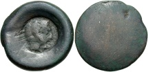 Ancient Coins - Sicily, Akragas, 525 - 406 BC, Hemilitron, Zeus Countermark