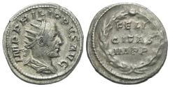 Ancient Coins - Philip I, 244 - 249 AD, Silver Antoninianus, Inscription in Wreath
