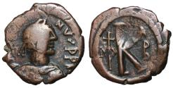 Ancient Coins - Justin I, 518 - 527 AD, Half Follis of Nicomedia