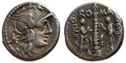Ancient Coins - Ti. Minucius Augurinus, 134 BC, Silver Denarius