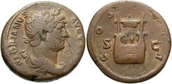 Ancient Coins - Hadrian, 117 - 138 AD, AE As, Lyre