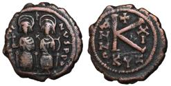 Ancient Coins - Justin II with Sophia, 565 - 578 AD, Half Follis of Cyzicus