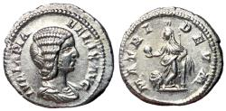 Ancient Coins - Julia Domna, 211 - 217 AD, Silver Denarius, Cybele, EF
