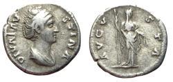 Ancient Coins - Faustina Sr., 141 - 146 AD, Silver Denarius, Ceres