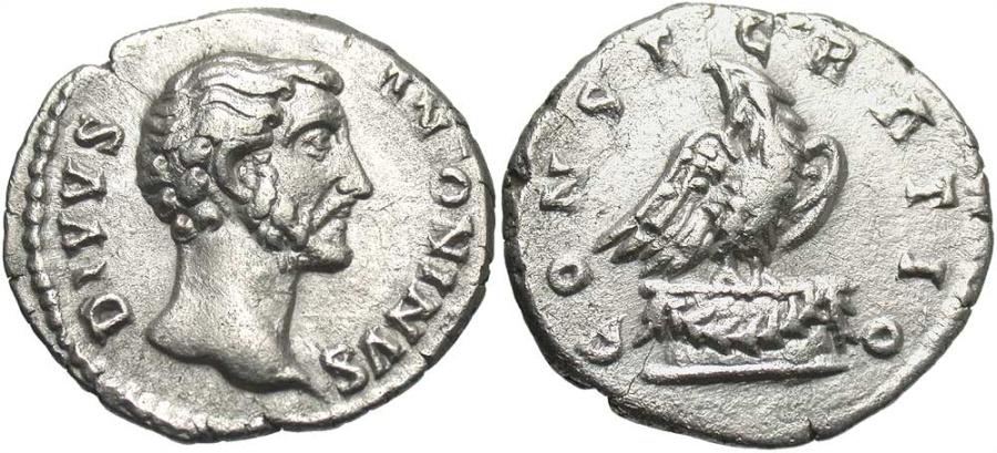 Ancient Coins - Divus Antoninus Pius, Issue by Marcus Aurelius & Lucius Verus, 161 AD, Silver Denarius