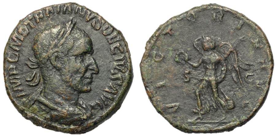 Ancient Coins - Trajan Decius, 249 - 251 AD, Sestertius with Victory