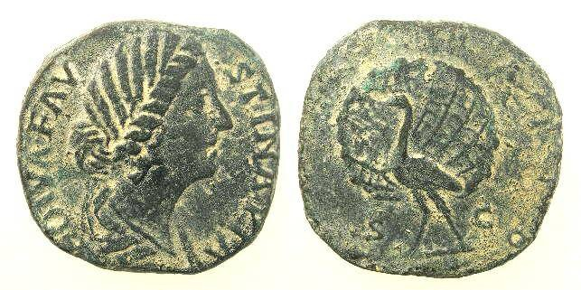 Ancient Coins - Faustina Jr., 161 - 180 AD, Æ Sestertius, Peacock with Tail Spread Open
