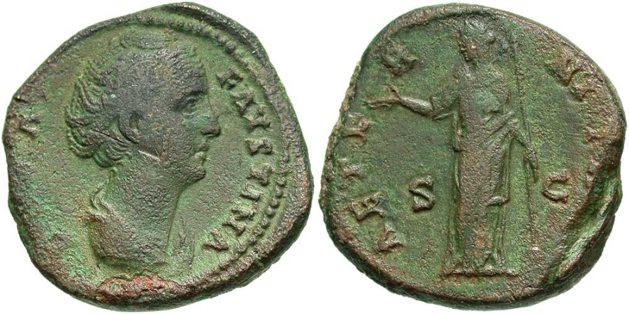 Ancient Coins - Diva Faustina Sr., After 147 AD, AE Dupondius, Juno