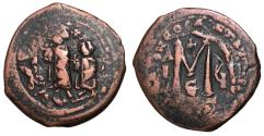 Ancient Coins - Herclius with Heraclius Constantine, 610 - 641 AD, Follis of Constantinople, Overstruck on Phocas