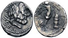 Ancient Coins - Roman Republic, L. Rubrius Dossenus, 87 BC, Silver Quinarius