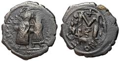 Ancient Coins - Heraclius with Constantine, 610 - 641 AD, Follis of Constantinople