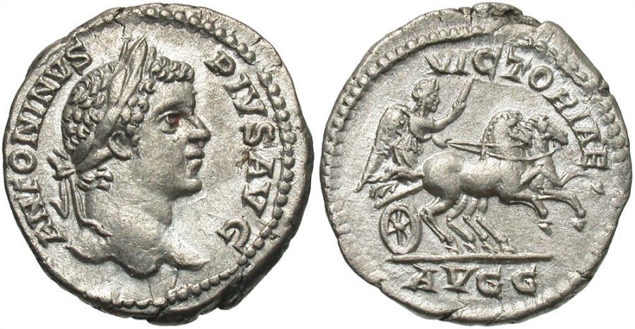 Ancient Coins - Caracalla, 198 - 217 AD, Silver Denarius, Victory in Biga, Quite Lovely