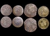 World Coins - England, C17th Trade Tokens, Essex( BW128) (1), Rutland (BW8) (1), Warks (BW111 (1), Cornwall (BW 59) (1), a lot of (4) coins