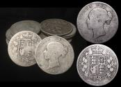 """World Coins - Great Britain, Victoria (1837-1901), """"Young Head"""" Silver Halfcrowns, mixed dates, a lot of (23) coins"""
