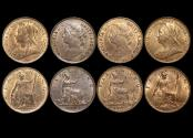 World Coins - Great Britain, Victoria (1837-1901), Bronze Farthings, 1891 (1), 1893 (1), 1895 (1), 1896 (1), UNC with lustre, a lot of (4) coins