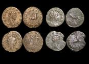 """Ancient Coins - Gallienus (253-68 CE), Billon Antoninianus, """"Animals and Mythical Creatures"""" series, Stag (1), Panther (1), Pegasus (1), Centaur (1), VF or better, a lot of (4) coins"""