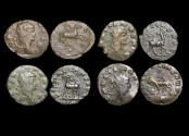 """Ancient Coins - Gallienus (253-68 CE), Billon Antoninianus, """"Animals and Mythical Creatures"""" series, Pegasus (1), Doe (1), Stag (1), Panther (1), VF or better, a lot of (4) coins"""
