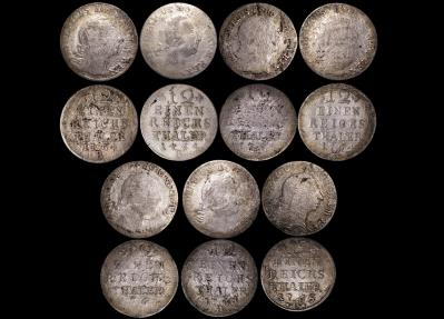 World Coins - German States, Prussia, Frederick the Great (1740-1786), Silver 1/12 Thaler, Fair - F, a lot of (7) coins