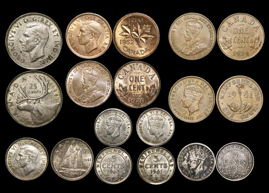 World Coins - Canada and Newfouldland, Mixed Silver and Bronze, George V-George VI, EF-AU, a lot of (9) coins