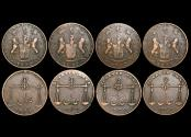 World Coins - British East India Co., Bombay Presidency, 1/4 Anna, Bombay mint, 1832/1246 (1) KM 231.1, 1832/1247 (3), KM 231.2, VF, a lot of (4) coins
