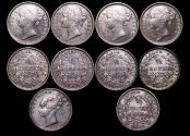 World Coins - British India, East India Company, Victoria (1837-1901), Silver 1/4 Rupee, KM 453, 1840 (1), KM 454, 1840 (4), AU-UNC, a lot of (5) coins