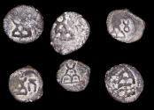 Ancient Coins - Ancient India, Taxila-Pushkalavati City Coinage (2nd Century BCE), 1/4 Karshapana, a lot of (6) coins