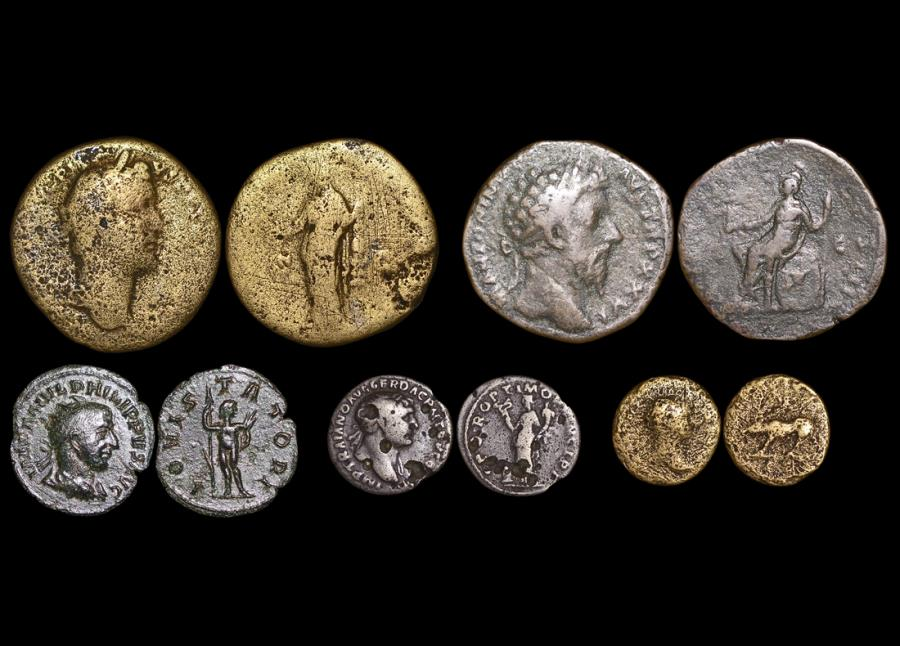 Ancient Coins - Roman Imperial, Mixed Bronze and Silver Lot of (5) coins